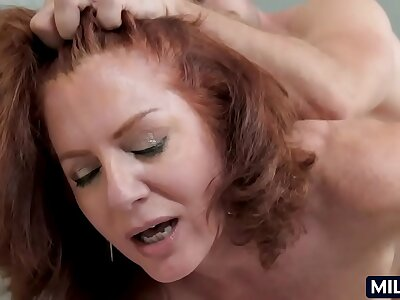 Mature woman hither a hairy snatch and red crawl
