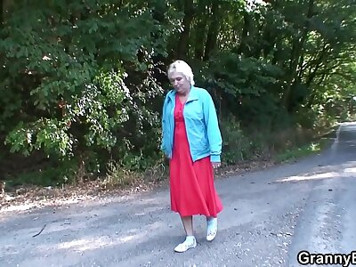 Hitchhiking light-complexioned granny apple of someone's eye up coupled with doggy-fucked roadside