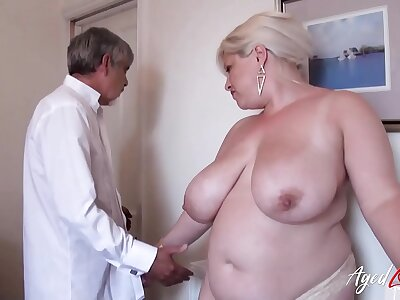 AgedLovE Busty Flaxen-haired Of age Recieving Hardcore