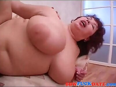 BBW Russian Old lady and Young Guy