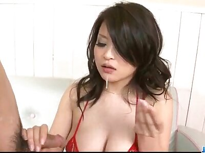 Yuu Haruka gets jizz on facet after shooting align blowjob