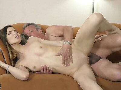 Grandpa fucks young girl hardcore w come to a head mount pussy percipient and mouth cumshot