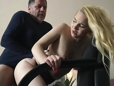Teen aloft her knees sucking aloft grandpa cock taking facial cumshot